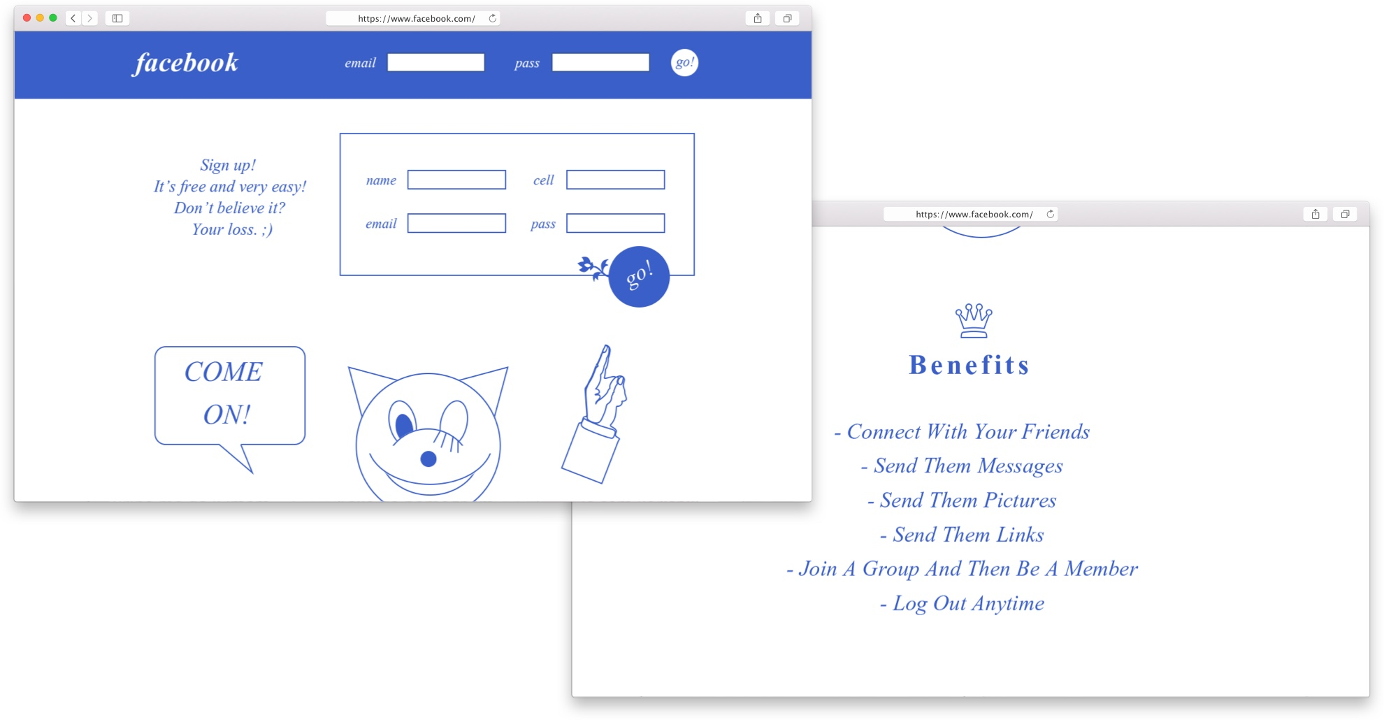 My Facebook landing page redesign (rejected 😏)